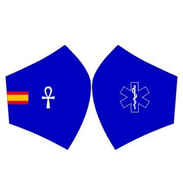 Mascarilla Bandera España Sanitario Fondo Azul