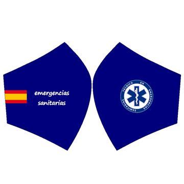 Mascarilla Bandera España Emergencia Fondo Azul