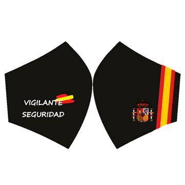 Mascarilla Fondo negro vigilante de seguridad con bandera España