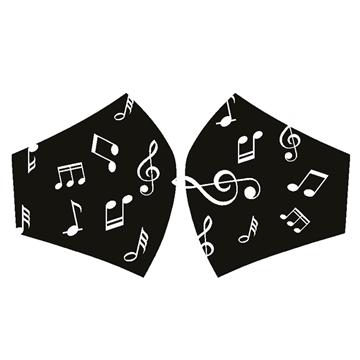 Mascarilla Notas Musicales fondo Negro